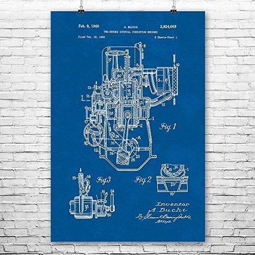 - Patent Earth Buchi Two Stroke Engine Poster Print, Mechanic Gift, Engine Blueprint, Automotive Engineer, Repair Shop, Vintage Car Blueprint (8