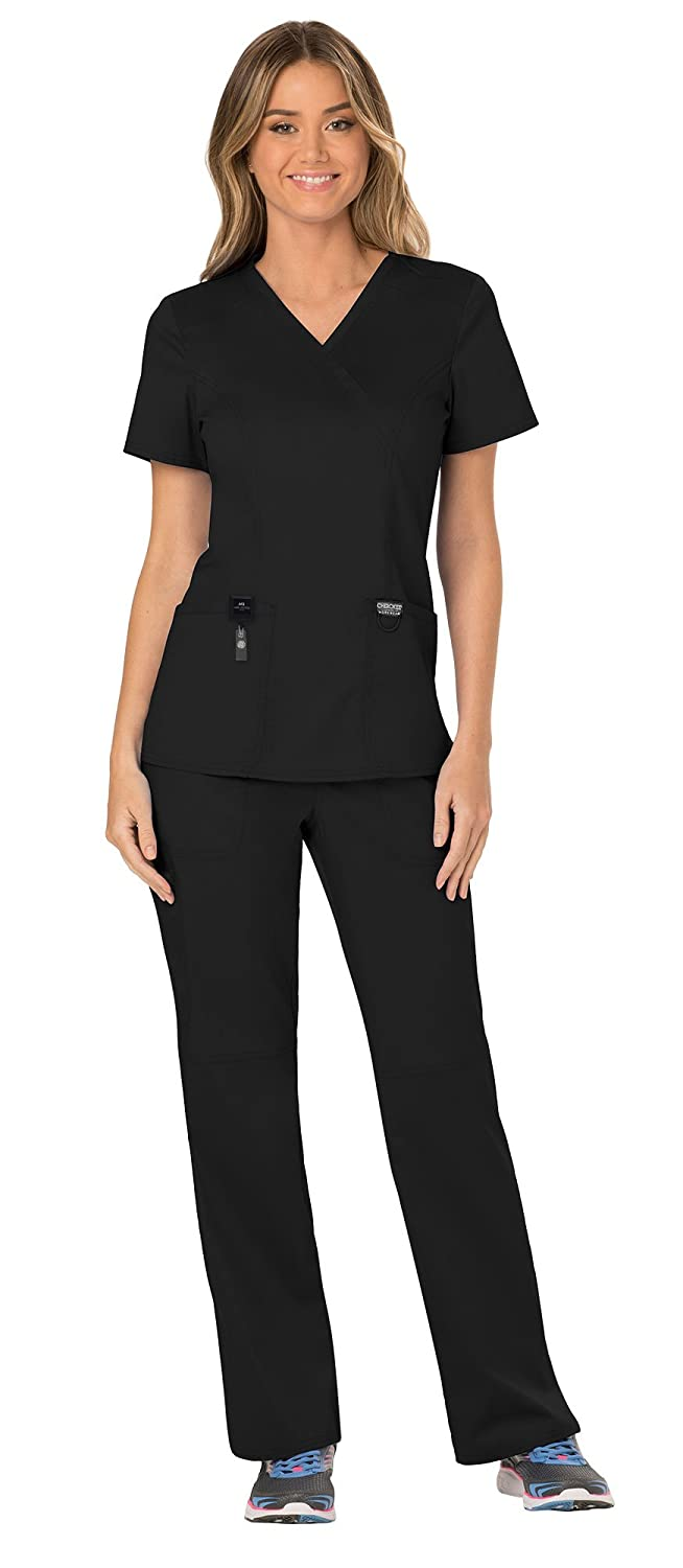 72ffc2bda3e Amazon.com: Cherokee Workwear Revolution Women's Scrub Set Bundle - WW610 Mock  Wrap Top & WW110 Pull On Pant & Marc Stevens Badge Reel: Clothing