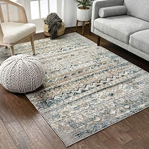 Well Woven Sella Beige Blue Vintage Tribal Area Rug 8×11 7 10 x 10 6
