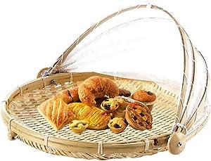Wangyuting Hand Woven Bug Proof Basket Dustproof Picnic Basket Handmade Fruit Vegetable Bread Cover Wicker Basket with Gauze,Outdoor Picnic Food Cover Mesh Tent Basketfor Vegetable Fruit Bread