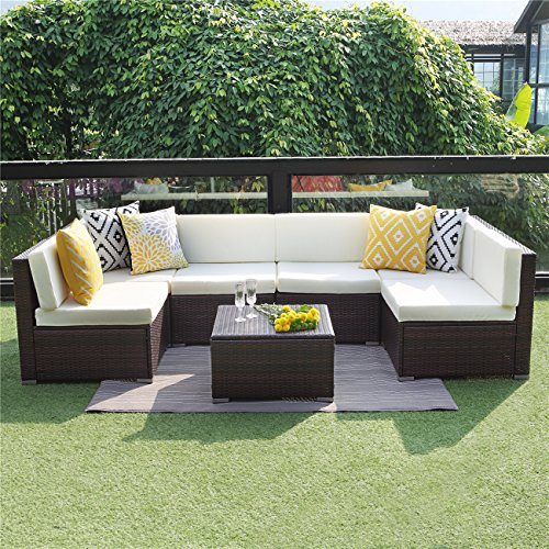 Wisteria Lane 7 PCS Patio Furniture Conversation Set,Outdoor Sectional Sofa Set All Weather Brown Wicker Furniture Set