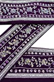 Vintage Sari Border 1YD Antique Used Embroidered Indian Trim Plum Ribbon Lace