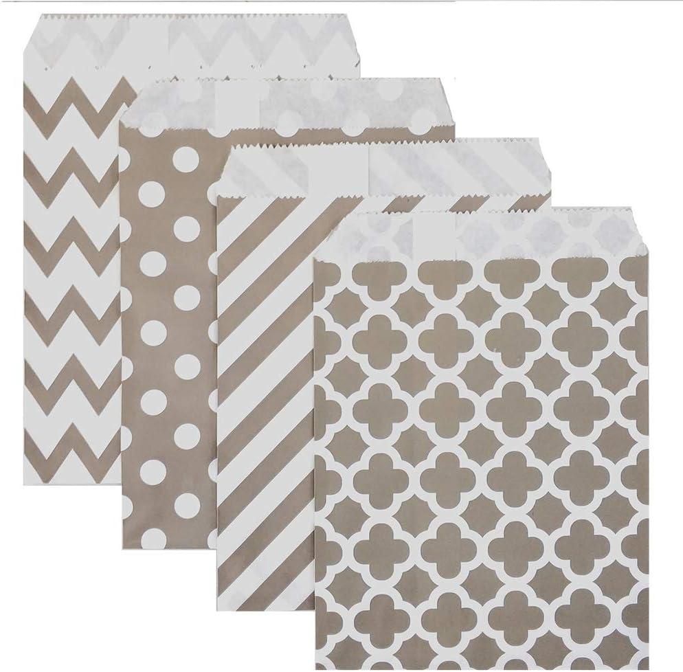 KEYYOOMY 100 Pcs Candy Buffet Bags Small Polka Dot Paper Treat Bags (Silver Grey, 5 inch X 7 inch)