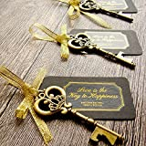 EFOXMOKO 52 Heavy-Duty Metal Large Skeleton Key Bottle Opener Wedding Favor Tag (Chalkboard Look-Alike), Free Gold Ribbon Stickers, Vintage Bridal Shower Favors Bottle Opener Guests (Antique Gold)
