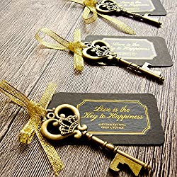 ● Your guests will love this posh and practical party/wedding gifts!  ● The rustic key is solid and sturdy, also functions as a bottle opener for your guests to take home with them.   ● Each vintage key bottle opener comes with a chalkboard look-alik...