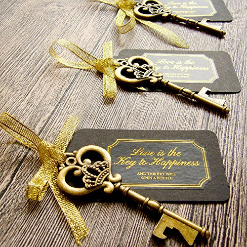 52 Heavy-Duty Metal Large Skeleton Key Bottle Opener Wedding Favor with Tag (Chalkboard Look-alike), FREE Gold Ribbon and Stickers, Vintage Bridal Shower Favors Bottle Opener for Guests (Antique Gold) ()