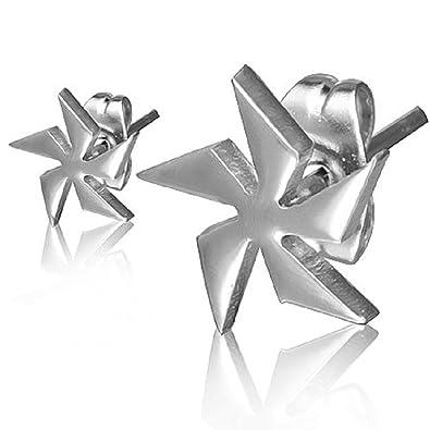 Pendientes de acero inoxidable con forma de Estrella Ninja ...