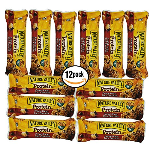 Nature Valley Protein Chewy Bar Peanut Butter & Dark Chocolate (12) 1.42 oz Bars Individually Wrapped - Strawberry Yogurt Chips