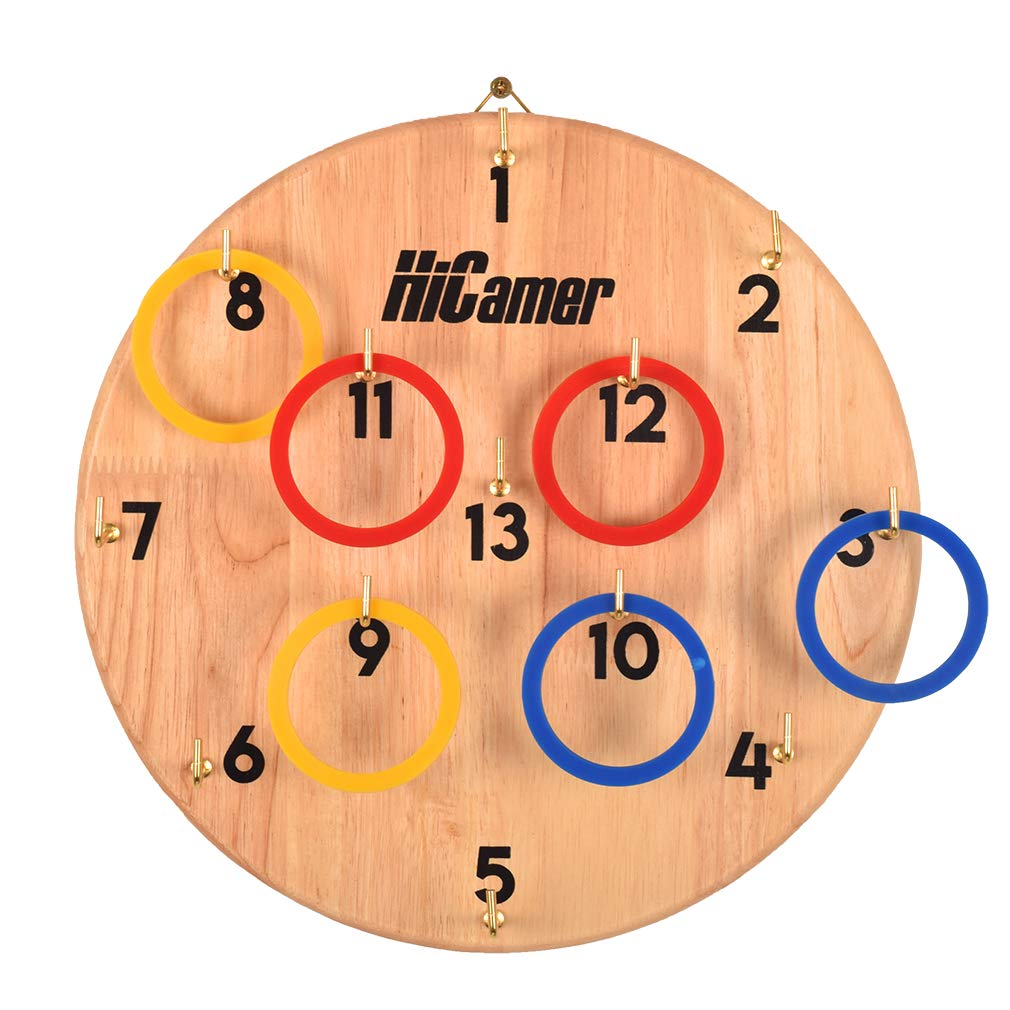 Fun Family Ring Toss Game Indoor and Outdoor Hook for Kids and Adults - Safe Darts Includes 11.8 Inch Hard Wood Board, 13 Metal Hooks and 12 Rubber Rings by HiCamer