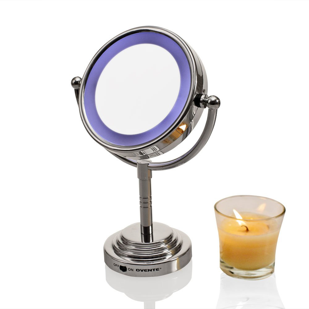 Amazon.com : Ovente Lighted Tabletop Makeup Mirror, 6 Inch, Battery Or AC  Adapter Operated, Dual Sided 1x5x Magnification, Cool Tone LED Light, ...