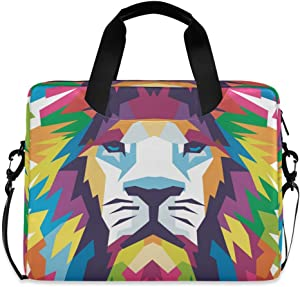 ALAZA Abstract Lion Animal Print Colorful Laptop Case Bag Sleeve Portable Crossbody Messenger Briefcase w/Strap Handle, 13 14 15.6 inch