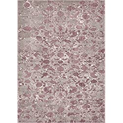 "Well Woven Rondo Lavender Microfiber High-Low Pile Vintage Abstract Erased 5x7 (5'3"" x 7'3"") Area Rug Modern Floral All Over Oriental Carpet"