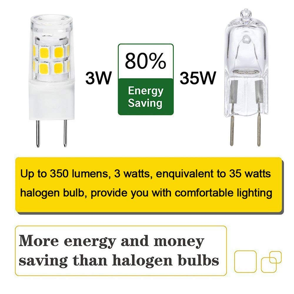 LED G8 Light Bulb 2.5 Watts Warm White G8 Base Bi-pin Xenon JCD Type LED 120V 20W Halogen Replacement Bulb for Under Counter Kitchen Lighting Under-Cabinet Light.Pack of 5
