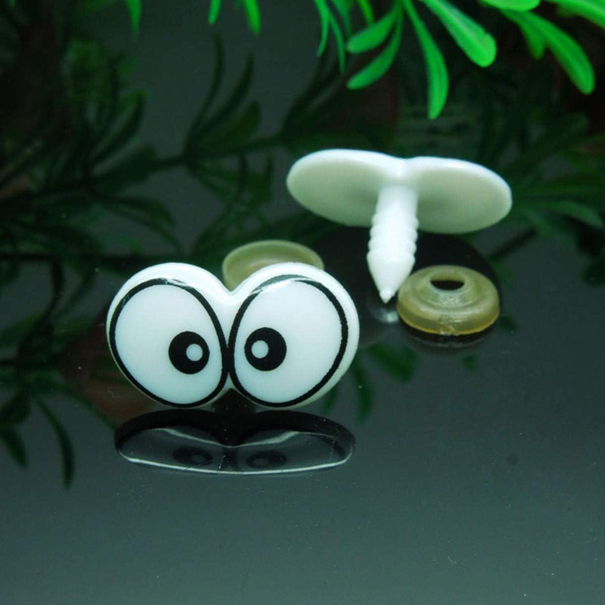 ZHONGJIUYUAN 50 Pieces White//Black Cartoon Plastic Safety Toy Eye Handmade Accessories for DIY Plush Dolls Animal Puppet Making