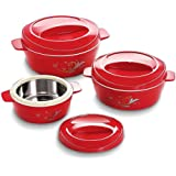 Cello Cuisine Insulated Plastic Casserole Gift Set, 3-Pieces 500ml + 850ml + 1500ml Maroon