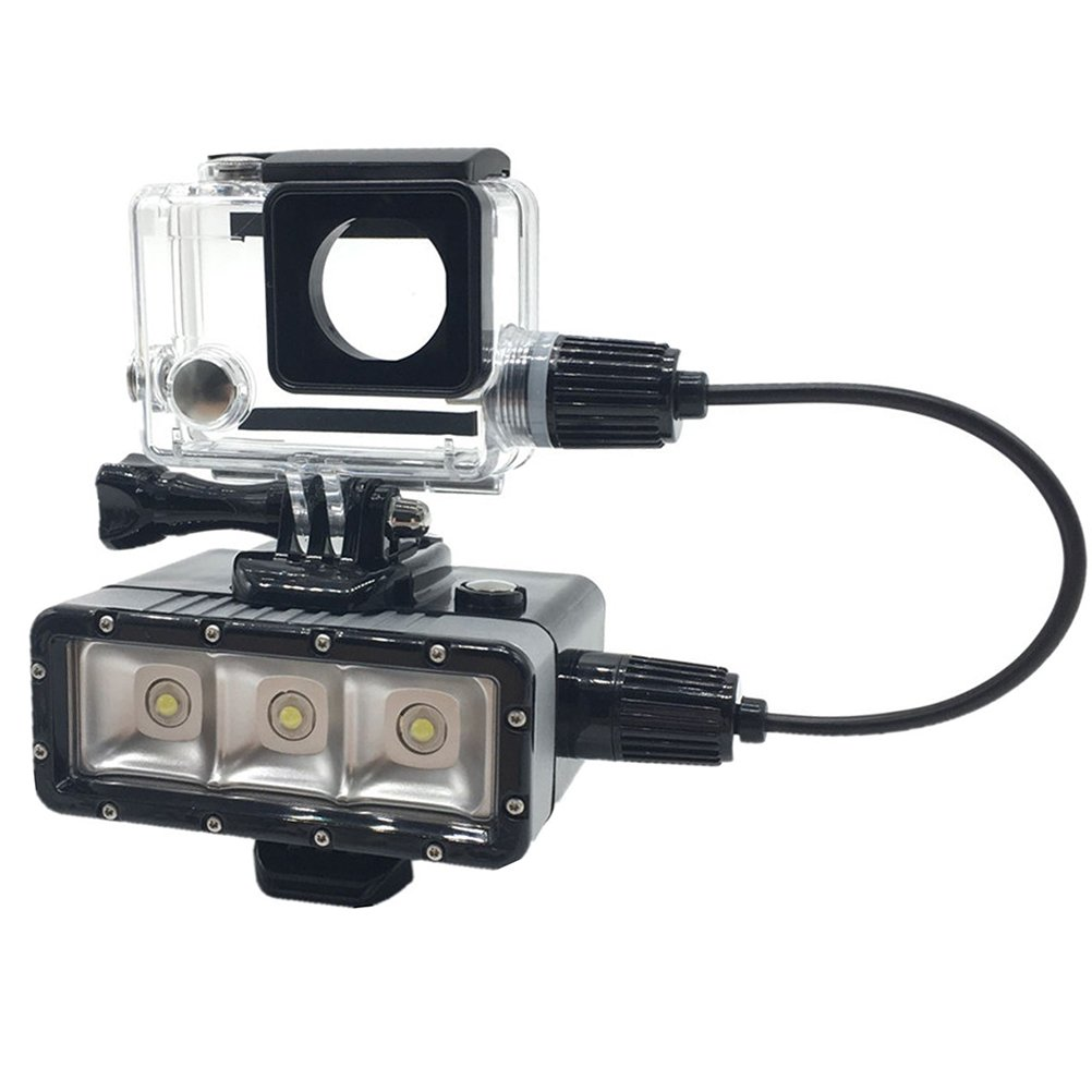 Underwater LED Superpower Night Diving Light 45M with 5200mah Power bank + Protective Case for GoPro Hero 3+ 4