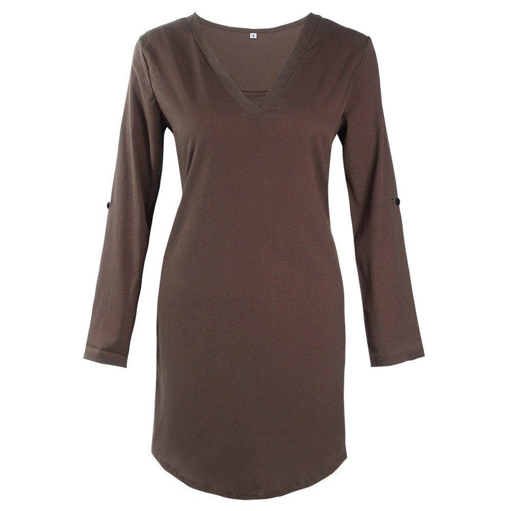 la Robe De Ma Vie,WINWINTOM 2018 Grande Promotion V/êTements Femmes Chemisier Mousseline De Soie Manche Longue T-Shirt Tenue D/éContract/éE Tops V Collar Manteau