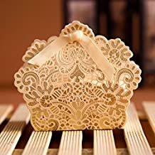 PONATIA 50 PCS Laser Cut With Ribbon Wedding Party Favor, Wedding Gift Bags Chocolate Candy and Gift Boxes (Gold)