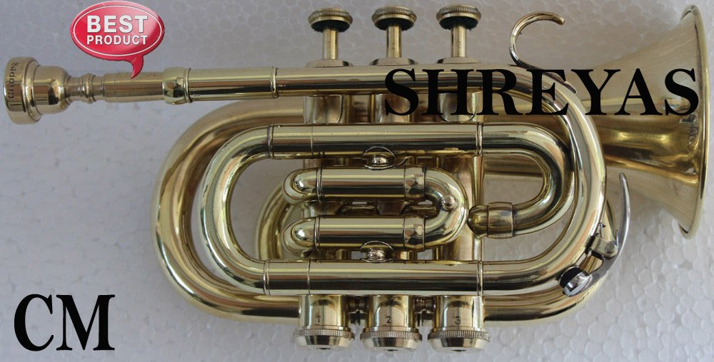 SHREYAS PoTr-443, Pocket Trumpet, Bb, Brass