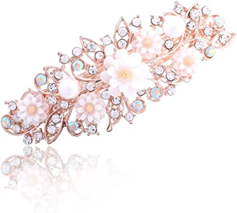 Girls Pearl Crystal Flower Hairpins Hair Barrette Hair Clip Headwear Sweet Gifts