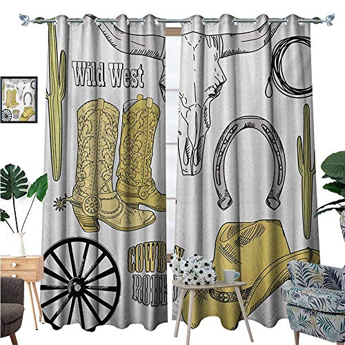 Western Blackout Window Curtain Cowboy Rodeo Accessories Skull Lasso Hat Vintage Wheel Horseshoe Customized Curtains W84 x L108 Pale Brown Black Pale Grey (Shoes T-mac Basketball)