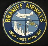 Braniff Airways Round Porcelain Enameled Aviation Sign