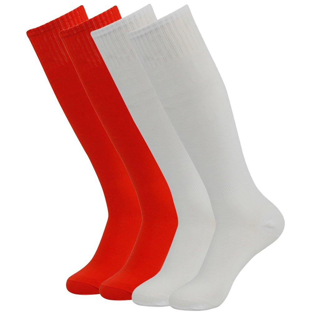 Feelingway SOCKSHOSIERY メンズ B076Z9N575 4 Pairs-red&white 4 Pairs-red&white