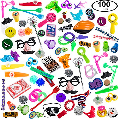 Carnival Prizes Toys Assortment for Prizes - Party Favors for Kids - 100 PC Toy School Rewards by Tigerdoe (Carnival Prizes) - Carnival Assortment