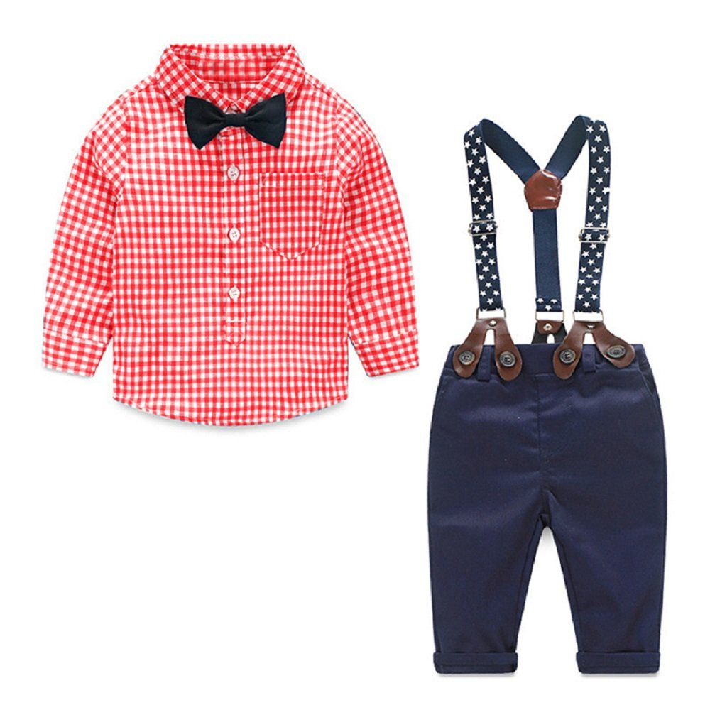 Yilaku Toddler Boys Outfits Suit Infant Clothing Newborn Baby Boy Clothes Sets Gentleman Plaid Top+Bow Tie+Suspender Pants (6-9 Months, Red)
