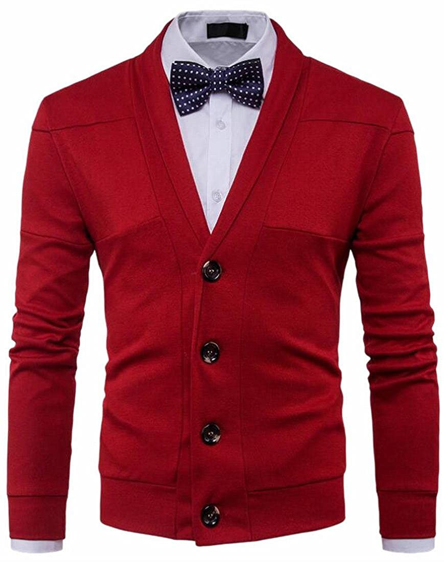 FLCH+YIGE Men's Fashion Button up V Neck Long Sleeve Knitted Cardigan Jacket