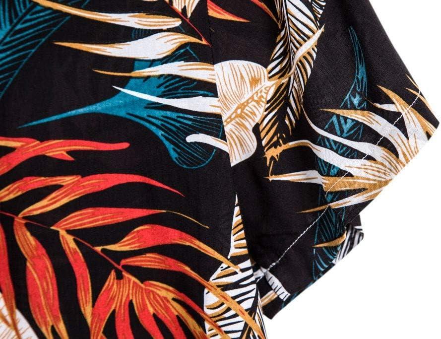 Funky Hawa/ïenne Chemise pour Hommes YUYOUG⛱ Chemises Boutonn/ées Manche-Courte en Coton pour Daily Business Plage F/ête Aloha Hawaiian-Imprimer T-shirts D/écontract/és