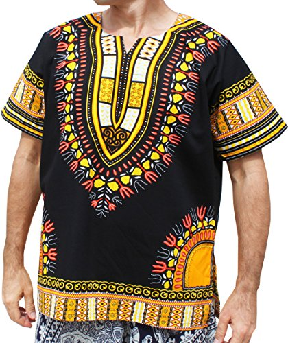 RaanPahMuang Brand Unisex Bright Black Cotton Africa Dashiki Shirt Plain Front, Medium, Black with Yellow by RaanPahMuang