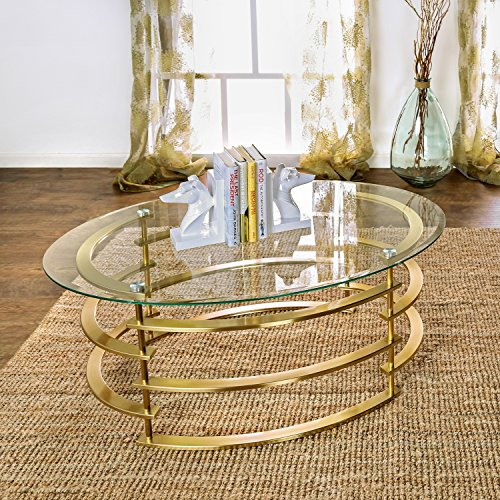Furniture of America Odella Contemporary 2-piece Glam Glass Top Accent Table Set Gold Gold Finish by Furniture of America (Image #2)