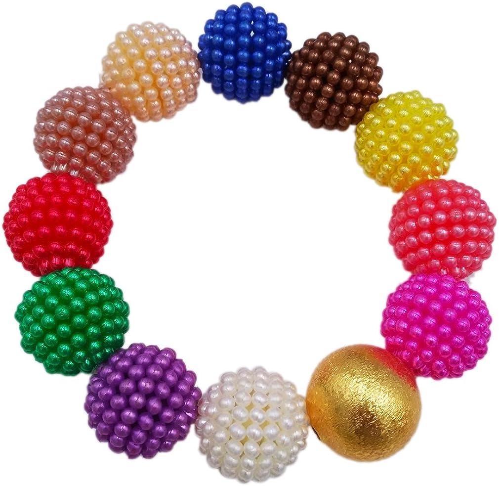 multicolore Laanc Set gioielli stile matrimonio nigeriano 2/strati con perline artificiali