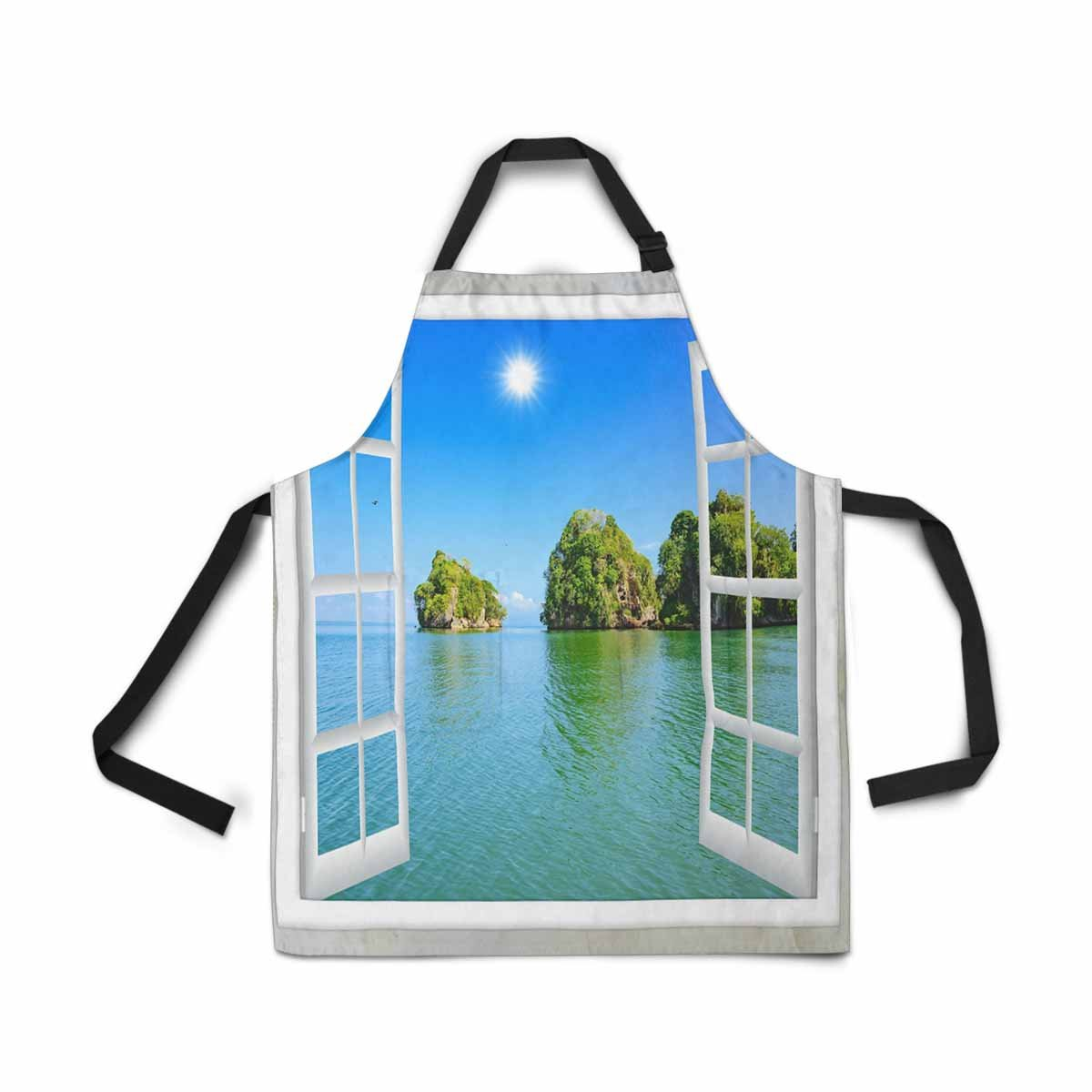 InterestPrint Adjustable Bib Apron for Women Men Girls Chef with Pockets, Window View Ocean Island Sunny Summer Day Novelty Kitchen Apron for Cooking Baking Gardening Pet Grooming Cleaning