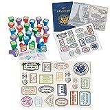 Fun Express Vintage Travel Passport Party Favor Bundle   12 Passport Sticker Books, 24 Relpica International Stampers and Passport Stamp Sticker Sheet   Perfect for Kids Spy and Secret Agent Play