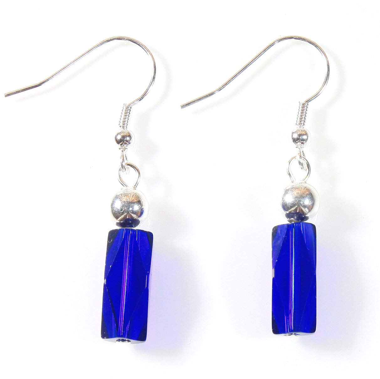 ''Spark of Joy Earrings'' Cobalt Blue and Silvertone on Tarnish Resistant French Wires by Style-ARThouse (Image #1)