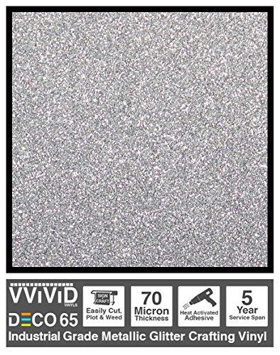 - VViViD DECO65 Silver Flake Metallic Glitter Adhesive Vinyl 6 Feet x 1 Foot Craft Roll for Cricut, Silhouette & Cameo Plotting Machines