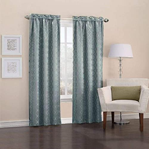 Easy Care Fabrics Thermal Pole Top Trellis Embroidered Room Darkening Curtains, 40 by 95-Inch, Mineral, Set of 2