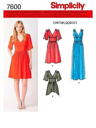 Simplicity Schnittmuster 7600 H5 Damen Kleid,Tunika,Dress,Habiller ...
