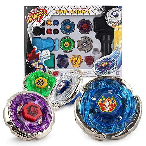 - Metal Master Fusion Storm Pegasus/Flame Libra/Earth Eagle/ Lightning L-Drago with Launcher Grip Gyro top Flight Set