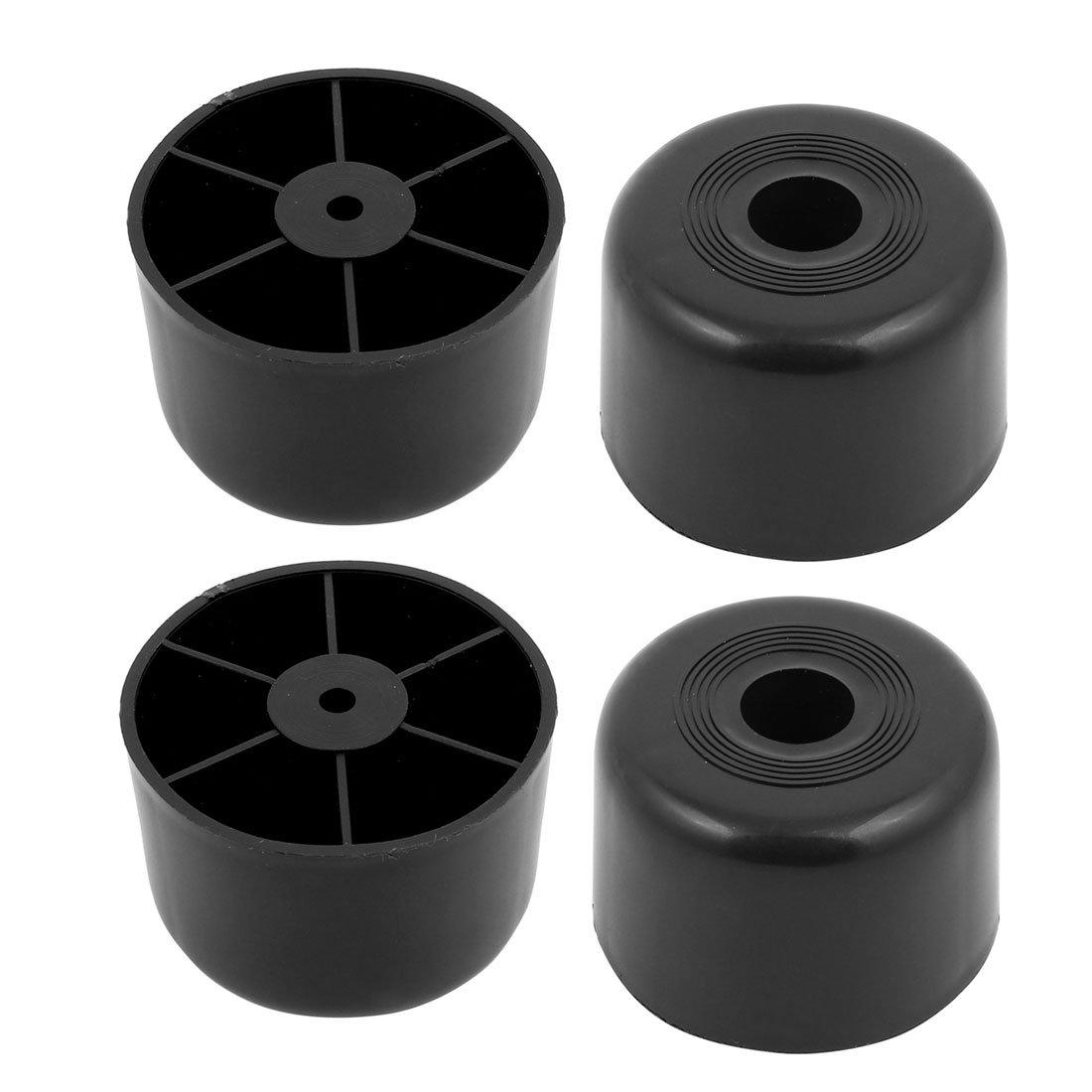 uxcell 4pcs 60mmx40mm Round Shaped Cabinet Sofa Leg Feet Black Plastic a17061700ux0654