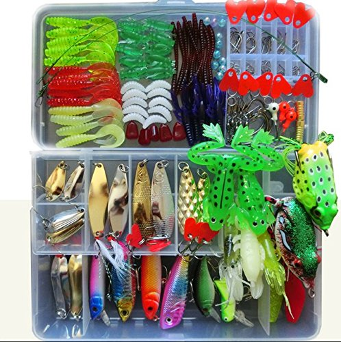 Price comparison product image Bluenet 198pcs set 1 Set Fishing Lure Tackle Kit Bionic Bass Trout Salmon Pike Fishing Lure Frog Minnow Soft Shrimp Grubs Jigging Lures Artificial Hard Spoon Spinner Sequins Lure