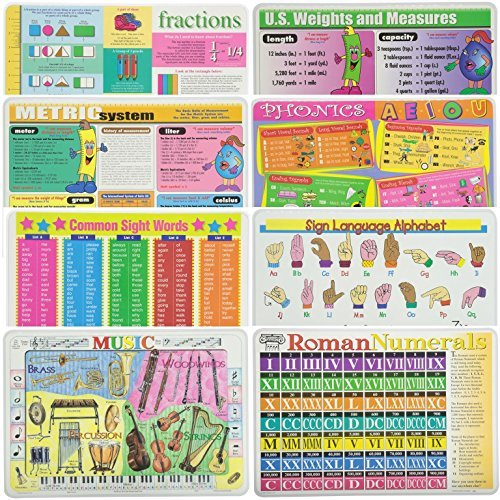 Painless Learning Educational Placemats for Kids Fractions, Metric System, Common Words, Music, U.S Weights and Measures, Phonics, Sign Language, Roman Numbers 8 Pack