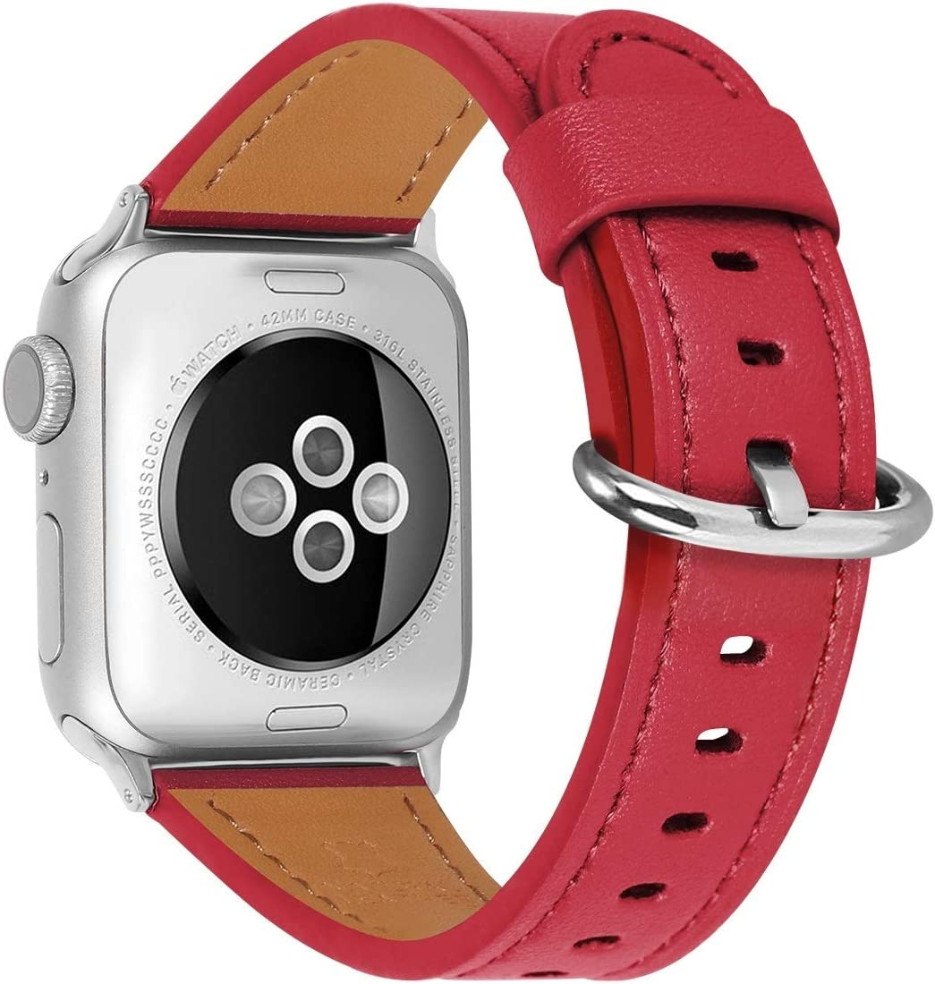 HUAFIY Compatible iWatch Band 38mm 40mm Genuine Leather Band Replacement Compatible with Apple for iWatch Series 6/ 5/ 4/ 3/2/1,SE, Sport , Edition, red Band (red band+silver buckle, 38mm40mm)