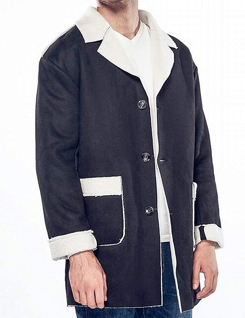 BOBOYU Mens Plus Size Loose Lapel Longline Faux Lambwool Lined Quilted Jacket Coat Outerwear