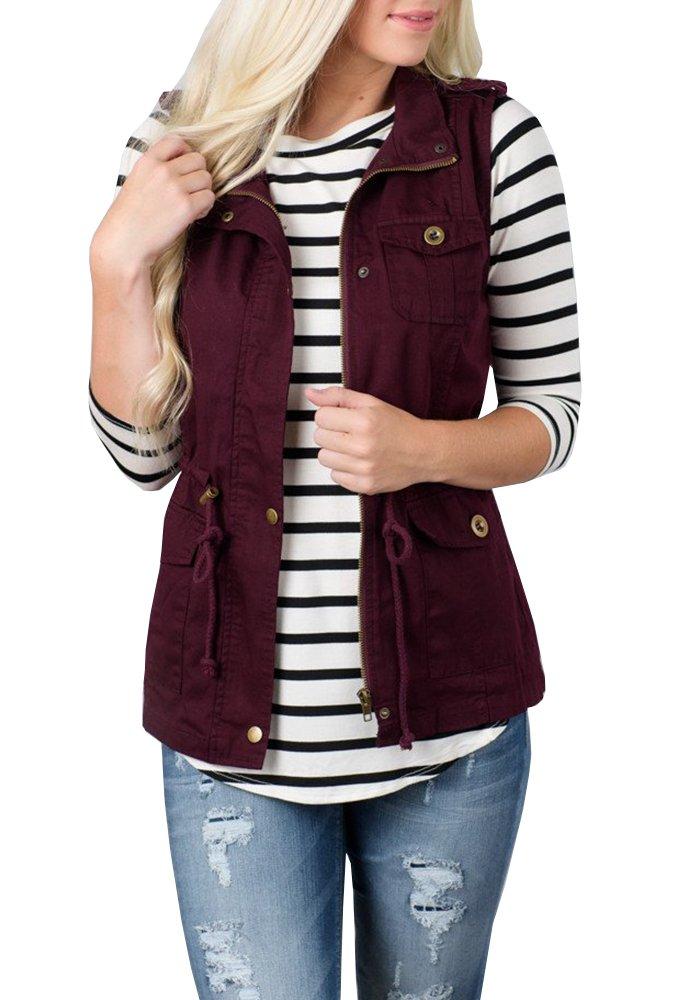 Tutorutor Women's Military Safari Utility Drawstring Lightweight Vest Jacket with Pocket (Medium, Burgundy)
