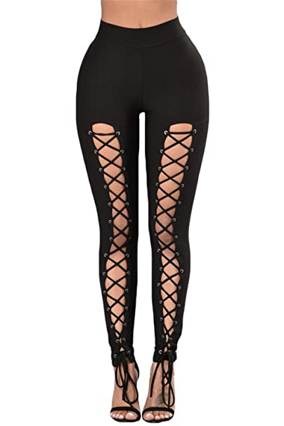 0f6df38f59e Mushuji Women Black Grommet Lace Up Crisscross Front High Waist Stretch  Sports Leggings Slim Fit Yoga Pants Running Leggings at Amazon Women s  Clothing ...