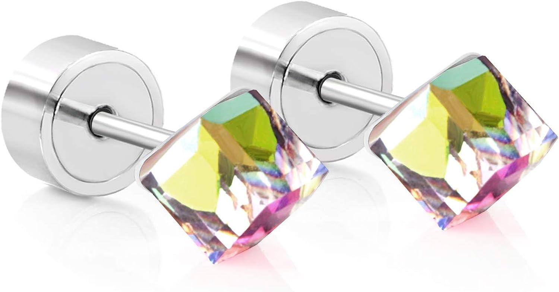 LUXU kisskids Flowers Shape CZ inlaid Stainless Steel Stud Earrings for Kids Women