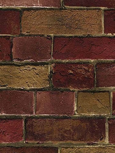 Wallpaper Faux Smooth Vintage Red and Tan Brick Wall, Looks Real Up! (Wall Liners compare prices)